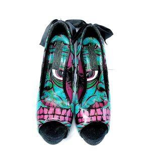 Iron Fist Zombie eyeball peep toe heels size 8
